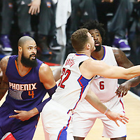 31 October 2016: Los Angeles Clippers forward Blake Griffin (32) goes for the layup past Phoenix Suns center Tyson Chandler (4) during the Los Angeles Clippers 116-98 victory over the Phoenix Suns, at the Staples Center, Los Angeles, California, USA.