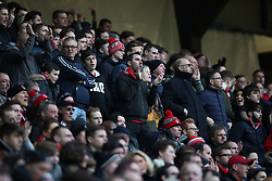 Charlton Athletic fans sing during the Sky Bet League One match at Stadium MK, Milton Keynes .
