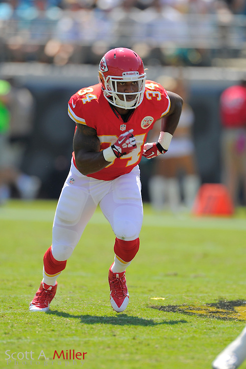 Kansas City Chiefs running back Knile Davis (34) during the Chiefs 28-2 win over the Jacksonville Jaguars at EverBank Field on Sept. 8, 2013 in Jacksonville, Florida. The <br /> <br /> &copy;2013 Scott A. Miller
