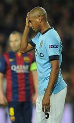 Manchester City's Fernandinho cuts a dejected figure - Photo mandatory by-line: Dougie Allward/JMP - Mobile: 07966 386802 - 18/03/2015 - SPORT - Football - Barcelona - Nou Camp - Barcelona v Manchester City - UEFA Champions League - Round 16 - Second Leg