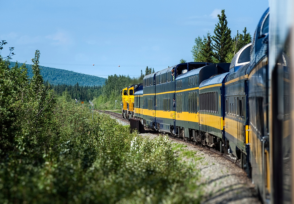 Tourist train winding through the pristine Alaskan landscape, Alaska USA