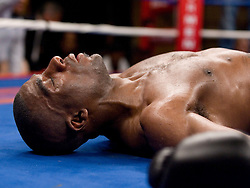 April 11, 2007; Bronx, NY, USA;  Sammy Sparkman lies unconscious after taking a left hook in the 9th round from Andre Tsurkan during their 10 round bout at the Paradise Theater.