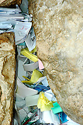 notes and requests placed in the cracks of The Wailing Wall, Jerusalem, Israel