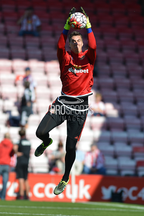 Sunderland AFC goalkeeper Costel Pantilimon warming up before the Barclays Premier League match between Bournemouth and Sunderland at the Goldsands Stadium, Bournemouth, England on 19 September 2015. Photo by Mark Davies.