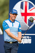 Padraig Harrington of Ireland tees off during the British Masters 2018 at Walton Heath Golf Course, Walton On the Hill, Surrey on 12 October 2018. Picture by Martin Cole.