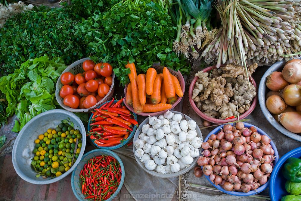 Fruits and vegetables displayed at a market in Tho Quang village, outside Hanoi, Vietnam