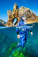Snorkelling off Ngaio rock at the Poor Knights islands.