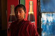 Pilgrim monk visits a cafe, Bodh Gaya, Bihar, India