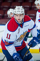 KELOWNA, CANADA - NOVEMBER 14: Tomas Soustal #11 of the Edmonton Oil Kings warms up against his former team Kelowna Rockets for the first time since he was traded on November 14, 2017 at Prospera Place in Kelowna, British Columbia, Canada.  (Photo by Marissa Baecker/Shoot the Breeze)  *** Local Caption ***
