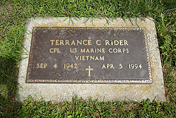 31 August 2017:   Veterans graves in Park Hill Cemetery in eastern McLean County.<br /> <br /> Terrance C Rider  Corporal US Marine Corps  Vietnam  Sep 4 1942  Apr 5 1994