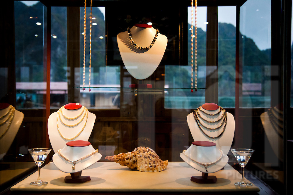 Pearl jewellry on display in a showroom at a pearl farm in Halong Bay, Vietnam