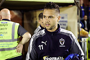 AFC Wimbledon attacker Harry Forrester (11) walking onto pitch during the EFL Sky Bet League 1 match between AFC Wimbledon and Milton Keynes Dons at the Cherry Red Records Stadium, Kingston, England on 22 September 2017. Photo by Matthew Redman.