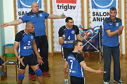 Players of Salonit Anhovo and coach Emanuele Fracascia complaining to referee at 4th and final match of Slovenian Voleyball  Championship  between OK Salonit Anhovo (Kanal) and ACH Volley (from Bled), on April 23, 2008, in Kanal, Slovenia. The match was won by ACH Volley (3:1) and it became Slovenian Championship Winner. (Photo by Vid Ponikvar / Sportal Images)/ Sportida)