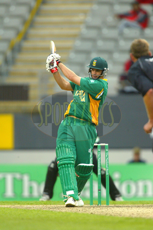 29 February 2004, National Bank International One Day Series, New Zealand vs South Africa, 5th ODI, Eden Park, Auckland, New Zealand..Albie Morkel. New Zeland won the game by 2 runs to take out the series 4-1..Pic: Sandra TEDDY/Photosport