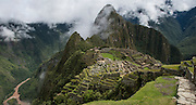 Panoramic view over Machu Picchu, Peru , the beautifully restored 15th-century Inca site located 7,970 feet above sea level