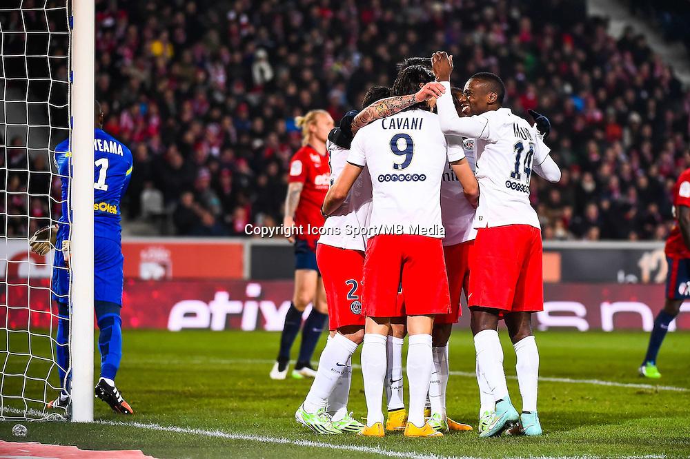 Joie Paris Saint Germain - Edinson CAVANI / Javier PASTORE / Blaise MATUIDI - 03.12.2014 - Lille / Paris Saint Germain - 16eme journee de Ligue 1 -<br />Photo : Fred Porcu / Icon Sport