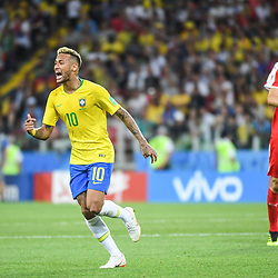 Neymar Jr of Brazil reacts under the eyes of Nemanja Matic of Serbia during the FIFA World Cup Group E match between Serbia and Brazil on June 27, 2018 in Moscow, Russia. (Photo by Anthony Dibon/Icon Sport)