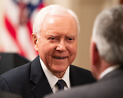 October 8, 2018 - Washington, DC, United States - Senator Orrin Hatch (R-UT) at the swearing in of Brett Kavanaugh as an Associate Justice of the Supreme Court in the East Room of the White House. (Credit Image: © Michael Brochstein/SOPA Images via ZUMA Wire)