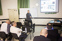 MSIDA, MALTA - 7 DECEMBER 2015: Chef Aaron Degabriele does a  presentation on Mazzit, a typical Maltese blood sausage, at the University of Malta in, Msida, Malta, on December 7th 2015. Aaron Degabriele is among a group of nine candidates studying for a Master Chef Diploma introduced this year by the University of Malta to promote healthier cuisine. Malta has the highest overweight and obesity rates in the European Union, according to a report from the World Health Organisation.