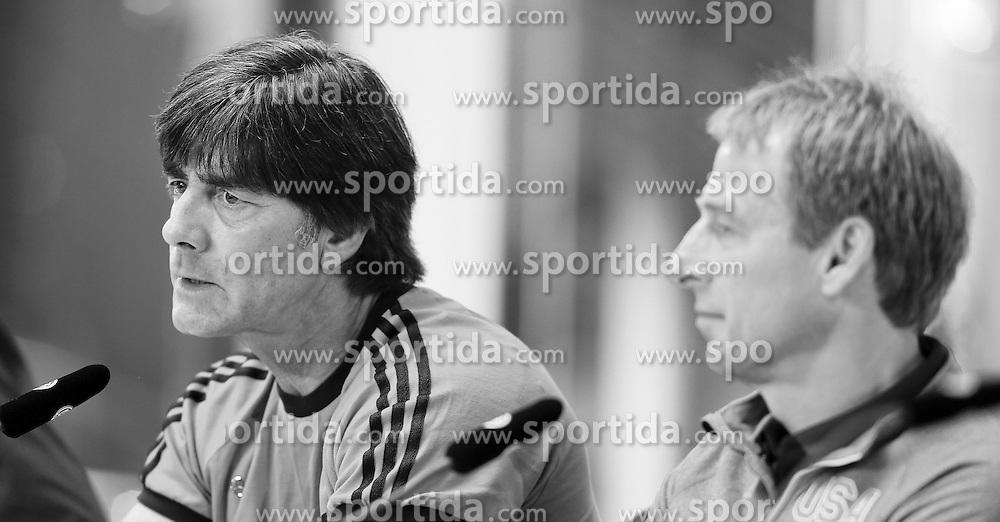 09.06.2015, Mercedes Center, Koeln, GER, FS Vorbereitung, Testspiel, Deutschland vs USA, Pressekonferenz, im Bild National-, Bundestrainer Joachim &quot;Jogi&quot; Loew und Juergen Klinsmann (Nationaltrainer USA) // during a press conference prior to the international friendly football match between Germany and USA Mercedes Center in Koeln, Germany on 2015/06/09. EXPA Pictures &copy; 2015, PhotoCredit: EXPA/ Eibner-Pressefoto/ Schueler<br /> <br /> *****ATTENTION - OUT of GER*****