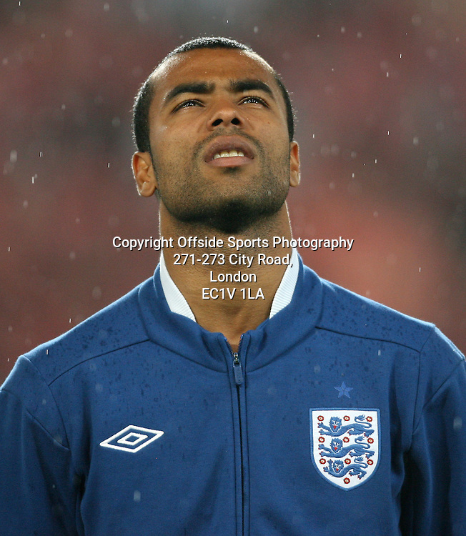 07/09/2010 - UEFA Euro 2012 Qualifying (Group G) - Switzerland vs. England - Ashley Cole of England stands for the national anthems - Photo: Simon Stacpoole / Offside.
