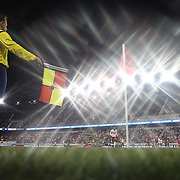 The linesman signals for a corner at Red Bull Arena during the New York Red Bulls Vs Chicago Fire, Major League Soccer regular season match won 5-4 by the Chicago Fire at Red Bull Arena, Harrison, New Jersey. USA. 10th May 2014. Photo Tim Clayton<br /> (Note to editors: A special effects starburst filter used in the creation of this image)