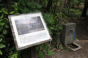 board with historical view and information at the Sankeien garden in Yokohama Japan