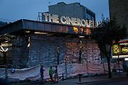 The Cineroleum. A pop-up cinema built by a collective of artists, designers and architects on the site of a derelict garage. 100 Clerkenwell Rd. Lonon. the day before opening. 19 August 2010. -DO NOT ARCHIVE-© Copyright Photograph by Dafydd Jones. 248 Clapham Rd. London SW9 0PZ. Tel 0207 820 0771. www.dafjones.com.