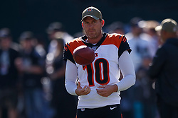 OAKLAND, CA - NOVEMBER 17: Punter Kevin Huber #10 of the Cincinnati Bengals warms up before the game against the Oakland Raiders at RingCentral Coliseum on November 17, 2019 in Oakland, California. The Oakland Raiders defeated the Cincinnati Bengals 17-10. (Photo by Jason O. Watson/Getty Images) *** Local Caption *** Kevin Huber