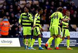 Isaiah Brown of Huddersfield Town celebrates with teammates after scoring a goal - Mandatory by-line: Robbie Stephenson/JMP - 25/04/2017 - FOOTBALL - Molineux - Wolverhampton, England - Wolverhampton Wanderers v Huddersfield Town - Sky Bet Championship