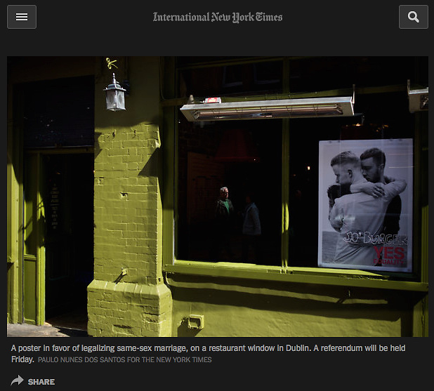 """Screengrab of """"Marriage equality referendum in Ireland"""" in The New York Times"""