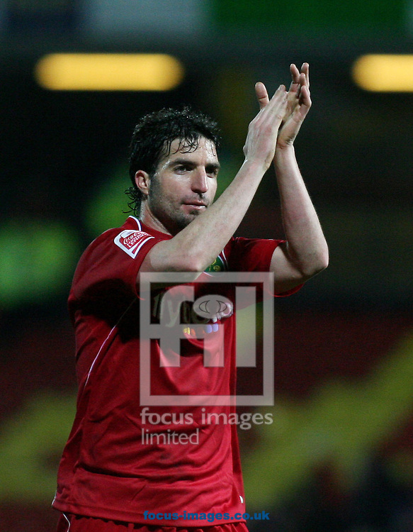 London - Tuesday, March 4th, 2008: Juan Velasco of Norwich City celebrates at the end against Watford during the Coca Cola Champrionship match at Vicarage Road, London. (Pic by Chris Ratcliffe/Focus Images)