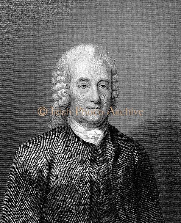 Emanuel Swedenborg (1688-1772) Swedish philosopher, mystic, and cosmologist. Portrait engraving.