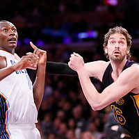 31 January 2014: Los Angeles Lakers center Pau Gasol (16) vies for the rebound with Charlotte Bobcats center Bismack Biyombo (0) during the Charlotte Bobcats 110-100 victory over the Los Angeles Lakers at the Staples Center, Los Angeles, California, USA.