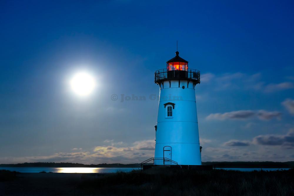 Moon lit Edgartown Lighthouse, Martha's Vineyard, Massachusetts, USA