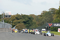 #28 Jamie Jardine Reynard 84FF leads the field at the start of the 2nd race during the Avon Tyres FF1600 Northern Championship - Pre 90 at Oulton Park, Little Budworth, Cheshire, United Kingdom. October 08 2016. World Copyright Peter Taylor/PSP.