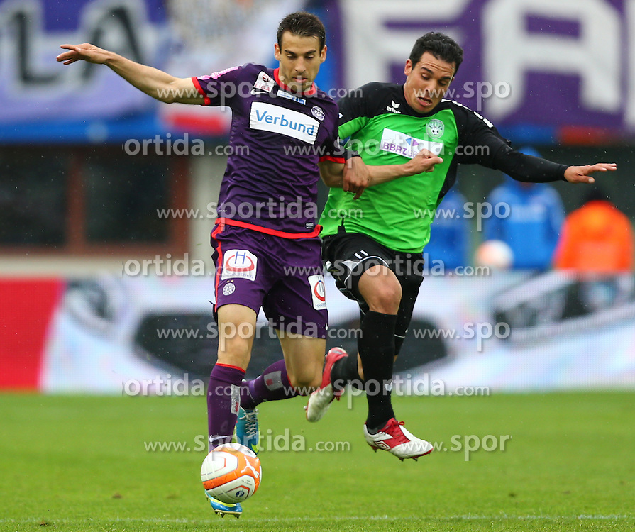 30.05.2013, Ernst Happel Stadion, Wien, AUT, Oefb Samsung Cup Finale, FK Austria Wien vs FC Pasching, im Bild Kaja Rogulj, (FK Austria Wien, #4) und Ignacio Diaz Casanova, (FC Pasching, #11)  // during Oefb Samsung Cup final match between FK Austria Vienna and FC Pasching at the Ernst Happel Stadion, Wien, Austria on 2013/05/30. EXPA Pictures © 2013, PhotoCredit: EXPA/ Thomas Haumer