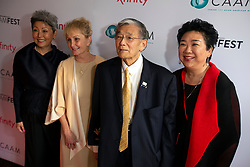 """Debra Nakatomi, producer from left, Danealia Mineta, wife, Norman Mineta, and Dianne Fukami, director/producer at the CAAM Film Festival's world premiere """"An American Story: Norman Mineta and His Legacy"""" at the Castro Theatre, Thursday, May 10, 2018 in San Francisco, Calif. (D. Ross Cameron/SF Chronicle)"""