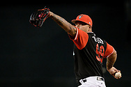 PHOENIX, AZ - AUGUST 26:  Taijuan Walker #99 of the Arizona Diamondbacks wearing a nickname-bearing jersey throws a warm up pitch in the game against the San Francisco Giants at Chase Field on August 26, 2017 in Phoenix, Arizona.  (Photo by Jennifer Stewart/Getty Images)