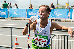 Blind Sandi Novak of Slovenia in the mixed zone of the Men's Marathon - T12 Final during Day 11 of the Rio 2016 Summer Paralympics Games on September 18, 2016 in Copacabana beach, Rio de Janeiro, Brazil. Photo by Vid Ponikvar / Sportida