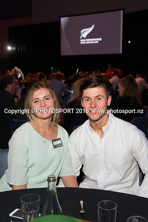 Bonnie Farrant and Aaron Laing at the High Performance Sport NZ Waikato ceremony for the Prime Minister's Scholarship Awards, at Sir Don Rowlands Centre, Lake Karapiro, Cambridge, New Zealand, 20 April 2016. Copyright Photo: Stephen Barker / www.photosport.nz
