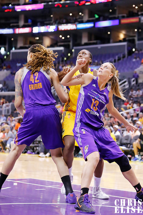 24 August 2014: Los Angeles Sparks forward/center Sandrine Gruda (7) vies for the rebound with Phoenix Mercury center Brittney Griner (42) and Phoenix Mercury forward Penny Taylor (13) during the Phoenix Mercury 93-68 victory over the Los Angeles Sparks, in a Conference Semi-Finals at the Staples Center, Los Angeles, California, USA.