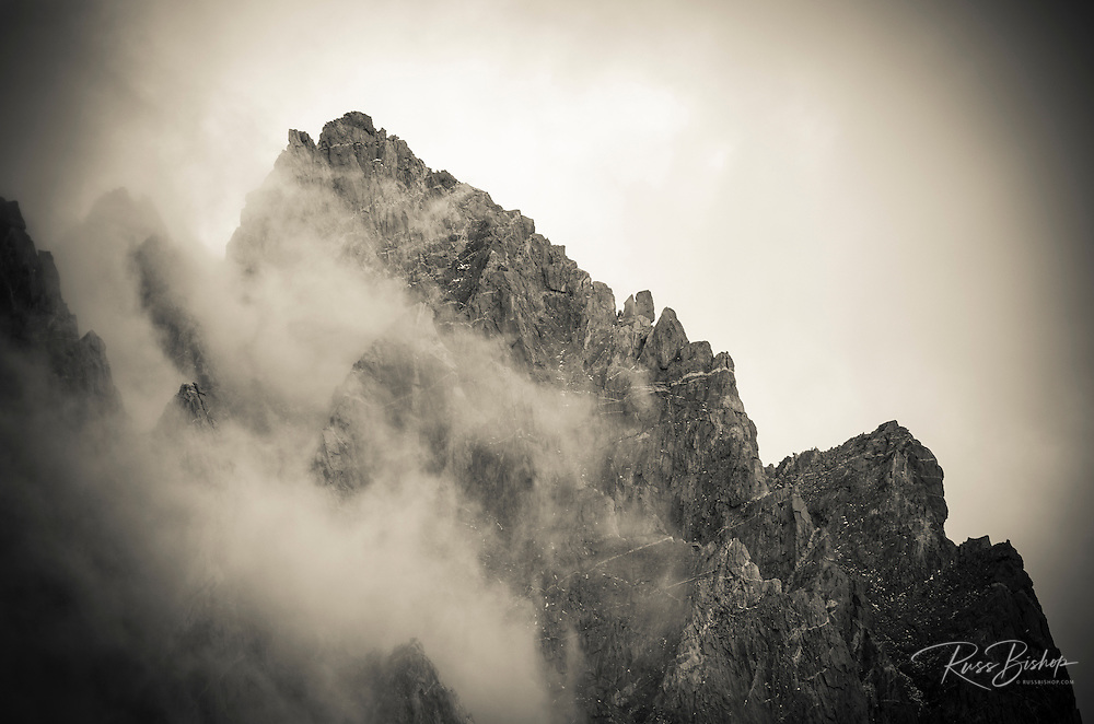 Clouds and rock ridges of the Palisades, Kings Canyon National Park, California