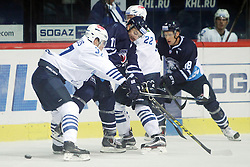 28.08.2015, Dom Sportova, Zagreb, CRO, KHL League, KHL Medvescak vs Admiral Vladivostok, 2. Runde, im Bild Oskars Bartulis, Stefano Giliati. // during the Kontinental Hockey League, 2nd round match between KHL Medvescak and Admiral Vladivostok at the Dom Sportova in Zagreb, Croatia on 2015/08/28. EXPA Pictures © 2015, PhotoCredit: EXPA/ Pixsell/ Goran Jakus<br /> <br /> *****ATTENTION - for AUT, SLO, SUI, SWE, ITA, FRA only*****