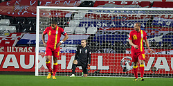 SWANSEA, WALES - Tuesday, March 26, 2013: Wales' Ashley Williams, goalkeeper Boaz Myhill and Ashley Richards show a look of dejection during the 2014 FIFA World Cup Brazil Qualifying Group A match against Croatia at the Liberty Stadium. (Pic by Kieran McManus/Propaganda)