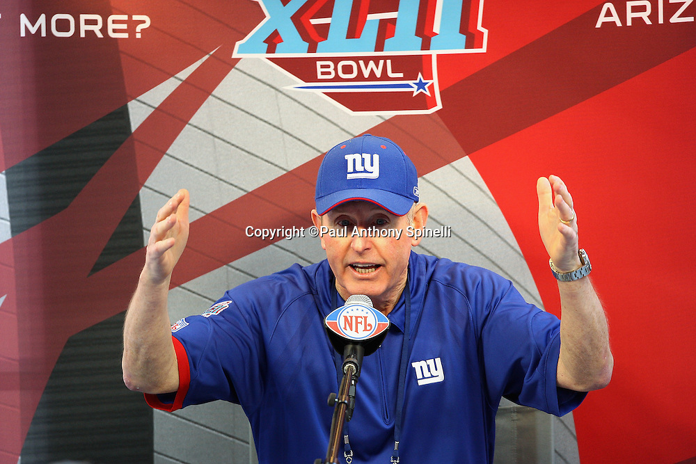 GLENDALE, AZ - JANUARY 29: Head Coach Tom Coughlin of the New York Giants gestures with his hands as he speaks to the media at the Giants Super Bowl XLII Media Day at University of Phoenix Stadium on January 29, 2008 in Glendale, Arizona.©Paul Anthony Spinelli *** Local Caption *** Tom Coughlin