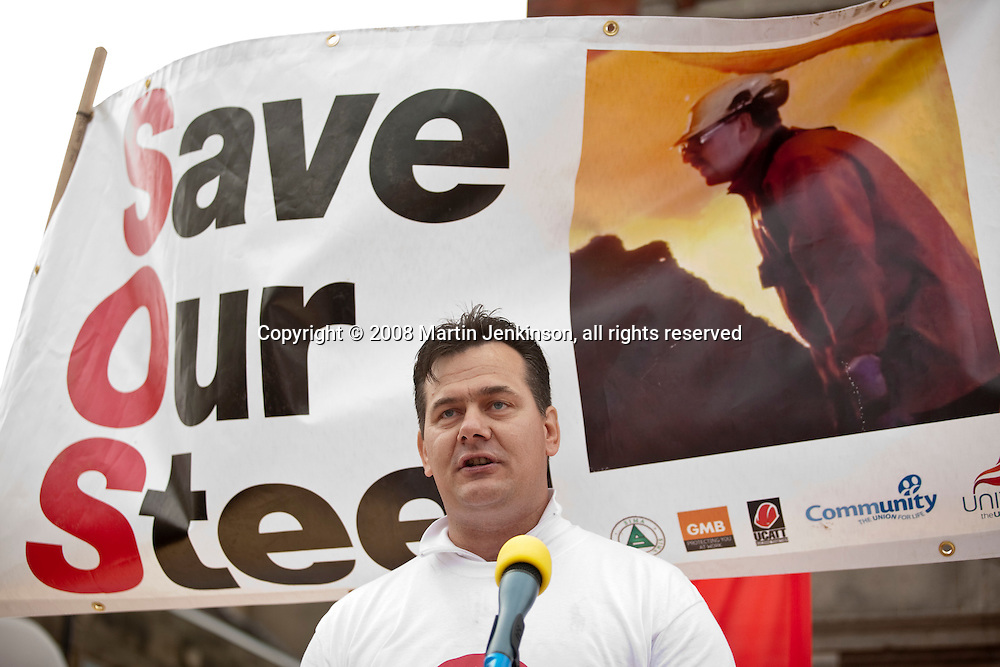 Geoff Waterfield, Teesside Works Multi Union Chairman, speaking at Corus Save Our Steel March Redcar..© Martin Jenkinson, tel 0114 258 6808 mobile 07831 189363 email martin@pressphotos.co.uk. Copyright Designs & Patents Act 1988, moral rights asserted credit required. No part of this photo to be stored, reproduced, manipulated or transmitted to third parties by any means without prior written permission