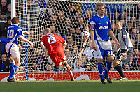 Photo: Ashley Pickering.<br />Ipswich Town v Southend United. Coca Cola Championship. 10/03/2007.<br />Peter Clarke (No. 15) heads in Southend's second goal (0-2)