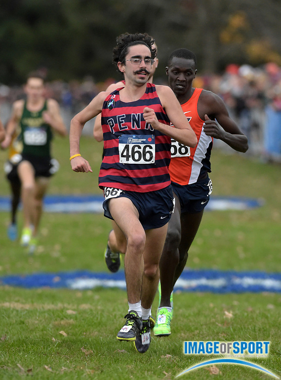 Nov 21, 2015; Louisville, KY, USA; Thomas Awad of Penn (466) places 14th in 30:06 during the 2015 NCAA cross country championships at Tom Sawyer Park.