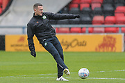 Forest Green Rovers Lee Collins(5) warming up during the EFL Sky Bet League 2 match between Crewe Alexandra and Forest Green Rovers at Alexandra Stadium, Crewe, England on 27 April 2019.